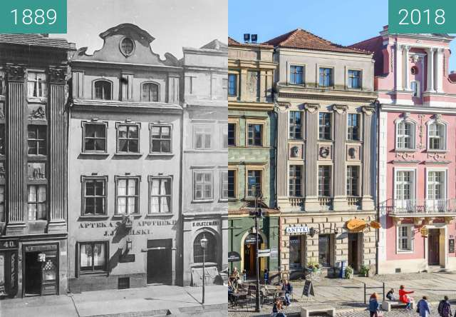 Before-and-after picture of Stary Rynek between 1889 and 2018
