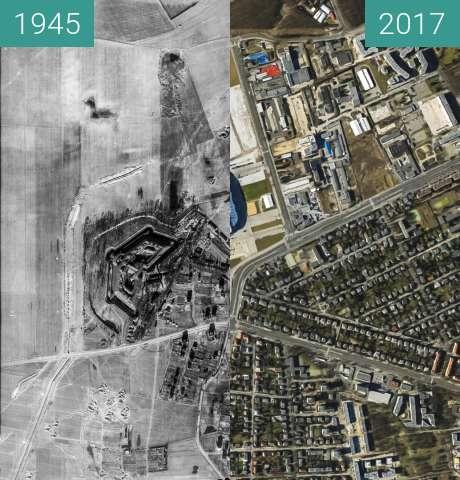 Vorher-Nachher-Bild von Fort VIII, ulica Bułgarska/Grunwaldzka zwischen 20.04.1945 und 20.04.2017