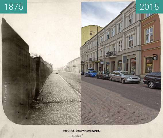 Before-and-after picture of Cegielniana (Jaracza) Street between 1875 and 2015