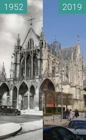 Before-and-after picture of Église St.-Urbain between 1952 and 2019-Mar-23