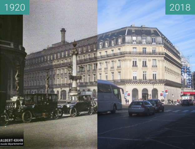 Before-and-after picture of Place Jacques Rouché between 10/1920 and 2018-Feb-10