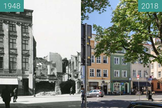 Before-and-after picture of Ulica Żydowska between 1948 and 2018