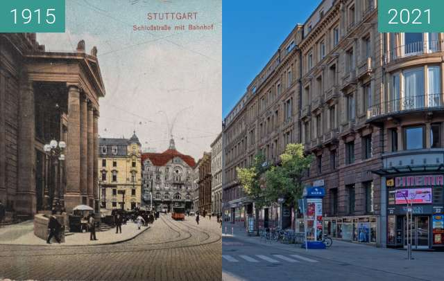 Before-and-after picture of Stuttgart, (alte) Schloßstraße, heute Bolzstraße between 1915 and 2021-Apr-25