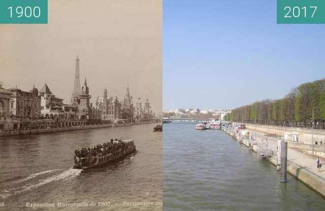 Before-and-after picture of View on Seine from Pont des Invalides between 1900 and 2017-Mar-26