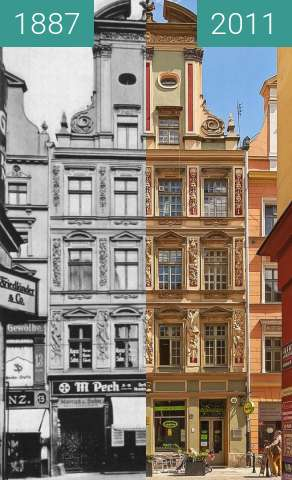 Before-and-after picture of Palaces in Wroclaw between 1887 and 2011