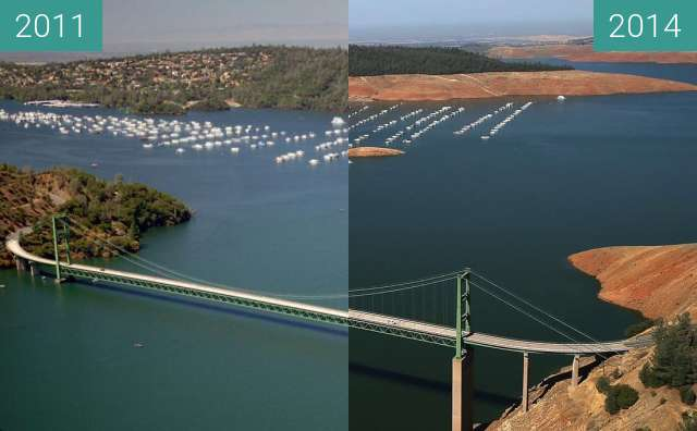 Before-and-after picture of Lake Oroville between 2011-Jul-20 and 2014-Aug-19