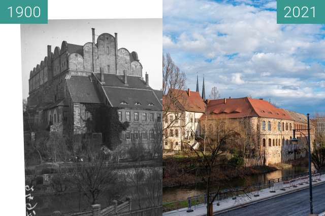 Before-and-after picture of Dom zu Halle between 1900 and 2021-Mar-12
