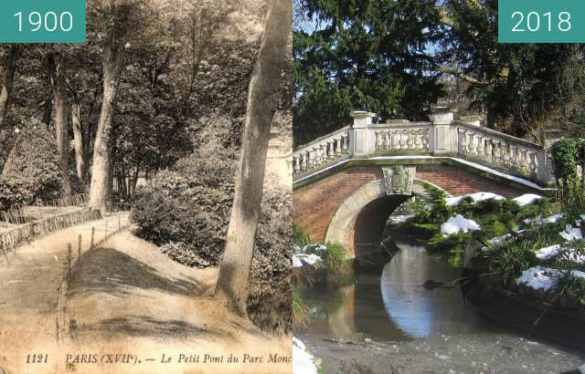Before-and-after picture of Parc Monceau between 1900 and 2018-Feb-10