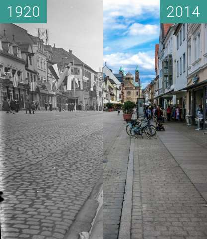 Before-and-after picture of Speyer - 1920-1930 - Maximilianstraße between 1920 and 2014-May-09