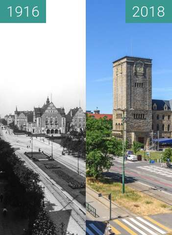 Before-and-after picture of Ulica Św. Marcin between 1916 and 2018-Jun-06