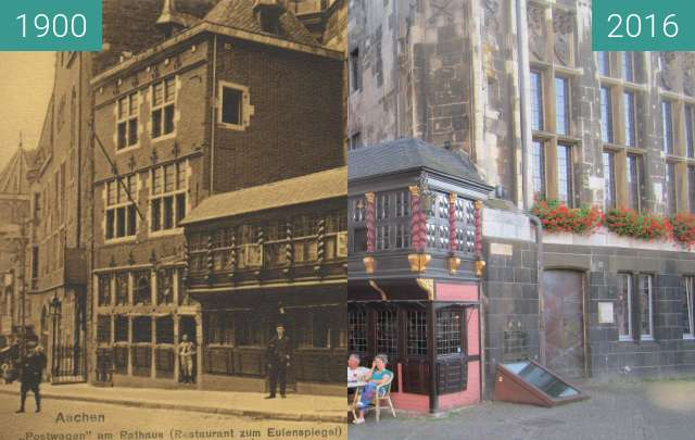 Before-and-after picture of Postwagen am Rathaus between 1900 and 2016-Sep-10