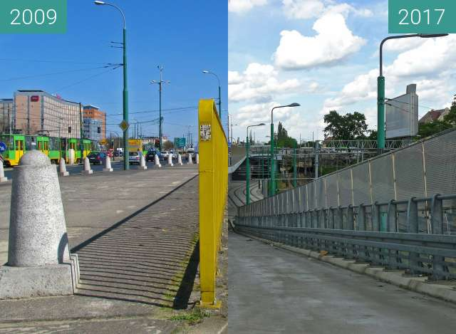 Before-and-after picture of Poznań. Ulica Roosevelta/Rondo Kaponiera. between 2009 and 2017