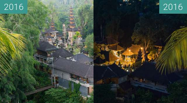 Before-and-after picture of Sunset at Gunung Lebah Temple in Ubud between 2016-Jul-02 and 2016-Jul-02