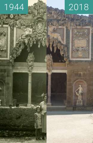 Before-and-after picture of Florence, Italy 1944/2018, Buontalenti Grotto between 07/1944 and 2018-May-20