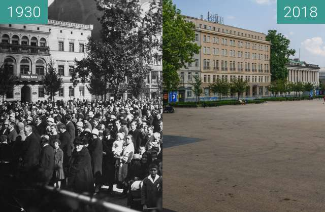 Before-and-after picture of Plac Wolności between 1930 and 2018