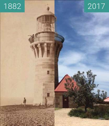 Before-and-after picture of Barrenjoey Lighthouse, Palm Beach between 1882 and 2017
