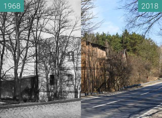 Before-and-after picture of Ulica Lutycka between 1968 and 2018-Mar-20