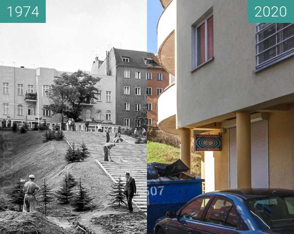 Before-and-after picture of Ulica Głęboka between 1974 and 2020-Mar-14