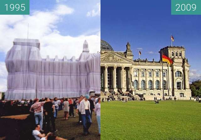 Before-and-after picture of Berlin - Reichstag 1995/2009 between 06/1995 and 2009