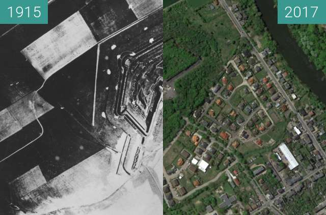 Before-and-after picture of Fort Roder Poznań between 1915 and 2017