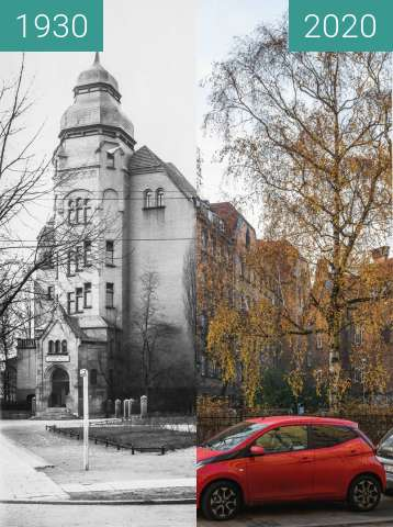Before-and-after picture of Ulica Bergera between 1930 and 2020-Dec-20