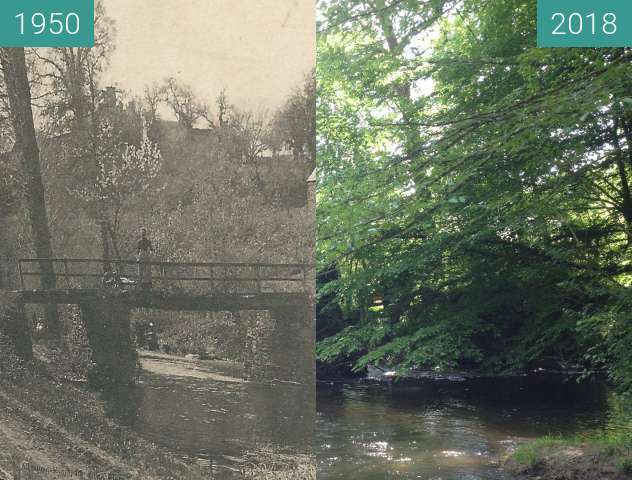 Before-and-after picture of Pont sur la Rouvre between 1950 and 2018-May-21