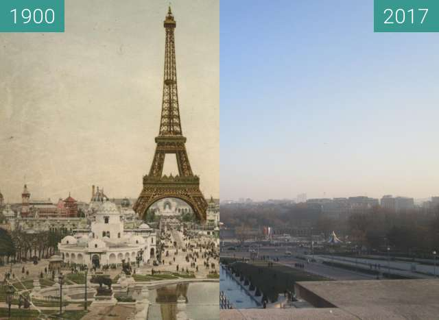 Before-and-after picture of Tour Eiffel between 1900 and 2017-Jan-26