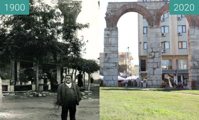 Before-and-after picture of Selçuk Byzantine Aquaducts between 1870 and 2020-Oct-10