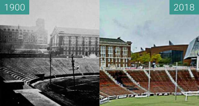 Before-and-after picture of Nippert Stadium between 1900 and 2018