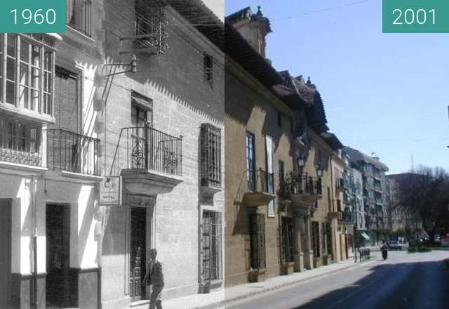 Before-and-after picture of Palacio Abacial between 1960 and 2001