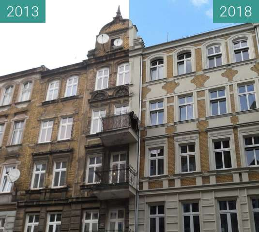Before-and-after picture of Kamienica przy Kilińskiego between 2013 and 2018