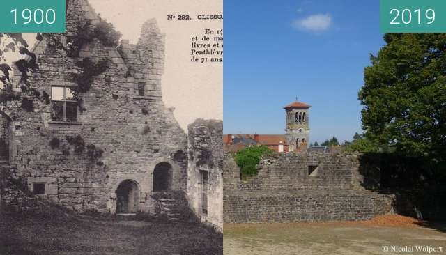 Before-and-after picture of Clisson Chateau between 1900 and 2019