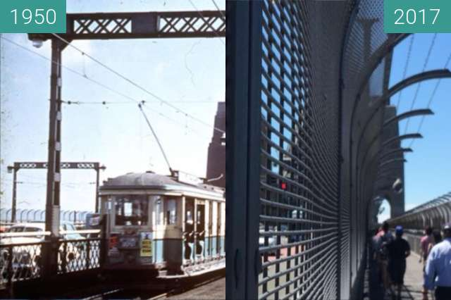 Before-and-after picture of Sydney Harbour Bridge between 1950 and 2017