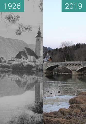 Before-and-after picture of Ribčev Laz at Bohinjsko Jezero, Slovenia, 1926 between 1926 and 2019-Jan-02