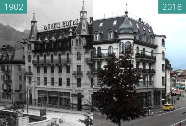 Before-and-after picture of Bulle - Le bâtiment du Moderne between 1902 and 2018-Aug-04