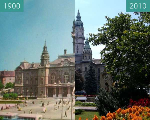 Before-and-after picture of Győr between 1900 and 2010
