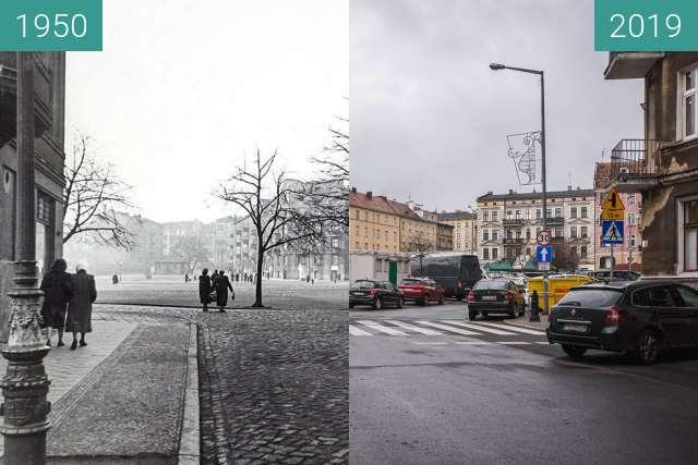 Vorher-Nachher-Bild von Rynek Łazarski zwischen 1950 und 2019