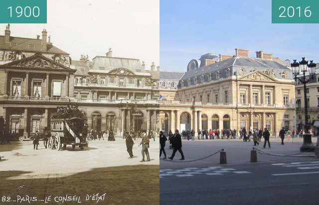 Before-and-after picture of Palais Royal between 1900 and 2016-Feb-27