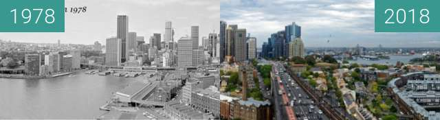 Before-and-after picture of Sydney CBD between 1978-Jan-12 and 2018-Jan-25