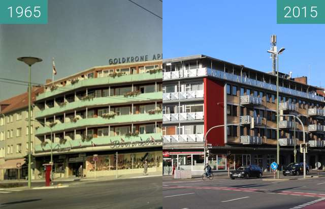 Before-and-after picture of Rosenplatzhaus between 1965 and 2015-Dec-30