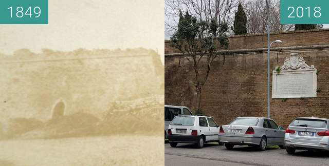 Before-and-after picture of Janiculum walls in 1849 and today between 1849 and 2018-Mar-17