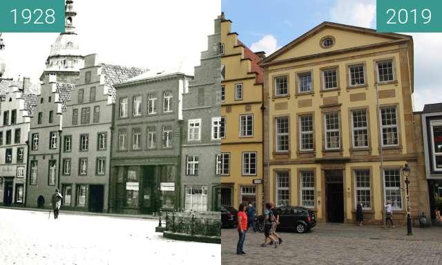 Vorher-Nachher-Bild von Marktplatz mit Justus-Möser-Denkmal zwischen 1928 und 20.06.2019
