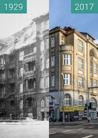 Before-and-after picture of Narożnik ulicy Libelta oraz alei Niepodległości between 1929 and 2017