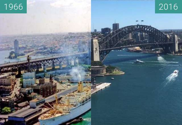 Before-and-after picture of Sydney Harbour between 1966 and 2016