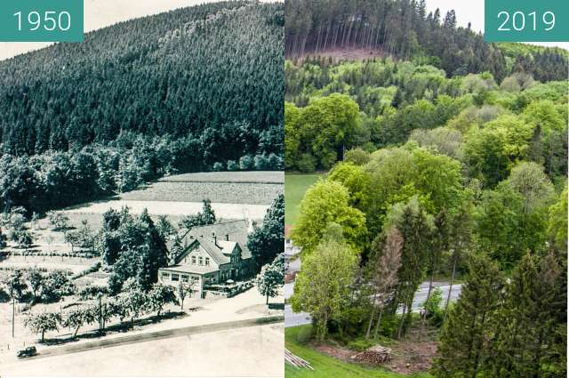 Before-and-after picture of Gasthaus zum Dörenberg between 1950 and 2019-May-09