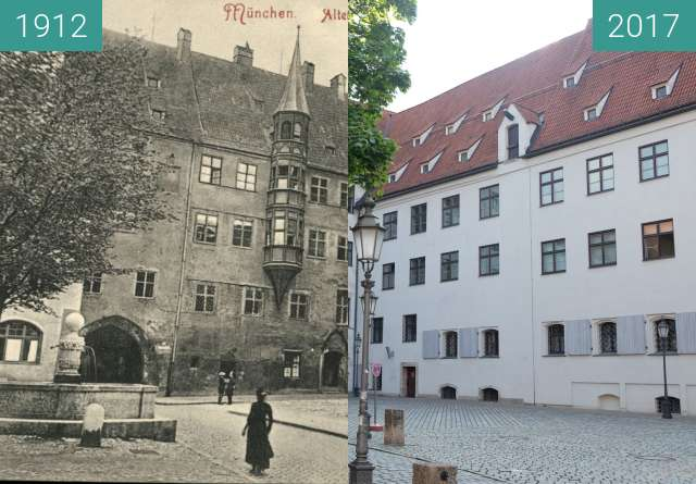Before-and-after picture of Alter Hof in München between 1912 and 2017-Aug-28