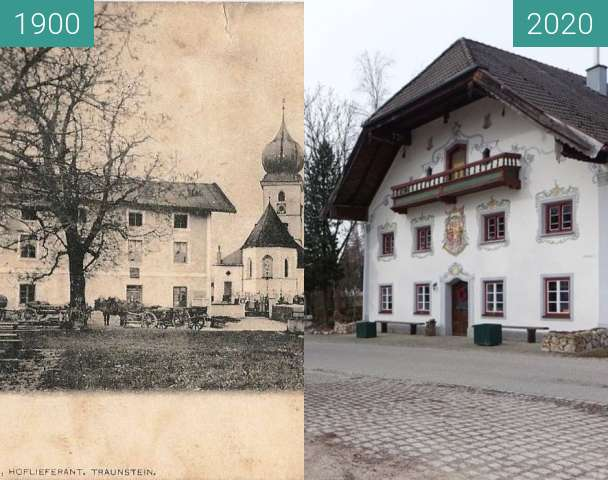 Before-and-after picture of Gasthof Surberg between 1900 and 2020