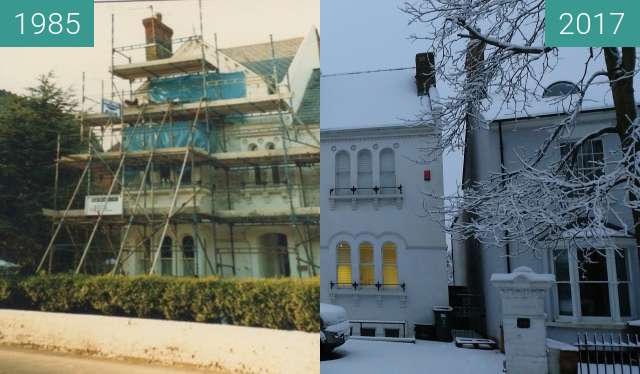 Before-and-after picture of Granville House Swindon between 1985 and 2017-Dec-10