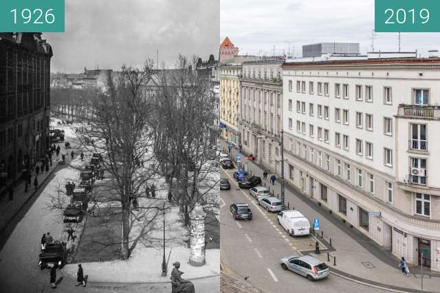 Before-and-after picture of Aleje Marcinkowskiego between 1926 and 2019