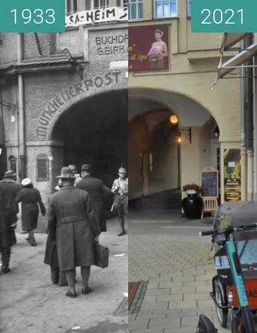 Before-and-after picture of München; Altheimer Eck between 1933-Mar-10 and 2021-May-25